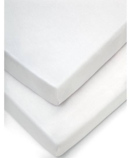Mamas & Papas 2 Crib Fitted Sheets (40x94cm) - White