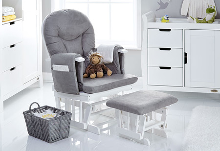 Obaby Reclining Glider Chair and Stool - White With Grey Cushion