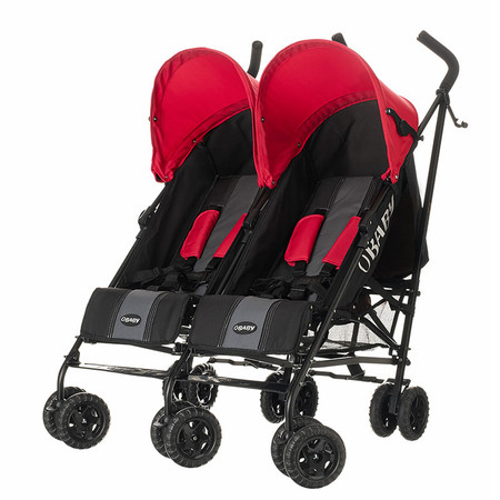 Obaby Apollo Twin Stroller - Black/Grey With Red Hoods