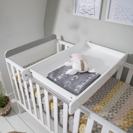 Tutti Bambini Rio Cot Bed with Cot Top Changer & Mattress - White/Grey