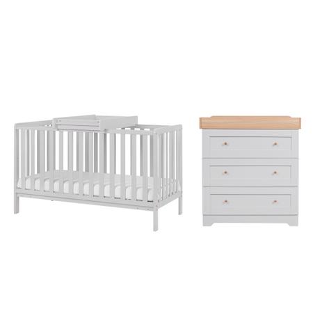 Tutti Bambini Dove Grey Malmo Cot Bed with Rio Furniture 2 piece Set Dove Grey/Oak
