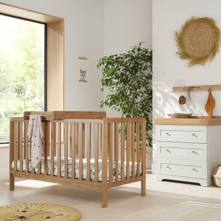 Tutti Bambini Oak Malmo Cot Bed with Rio Furniture 2 piece Set Dove Grey/Oak