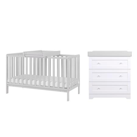 Tutti Bambini Dove Grey Malmo Cot Bed with Rio Furniture 2 piece Set White/Dove Grey
