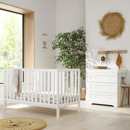 Tutti Bambini White Malmo Cot Bed with Rio Furniture 2 piece Set White