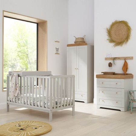 Tutti Bambini Dove Grey Malmo Cot Bed with Rio Furniture 3 piece Set Dove Grey/Oak