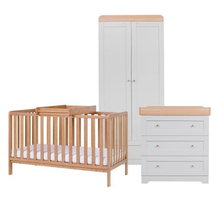 Tutti Bambini Oak Malmo Cot Bed with Rio Furniture 3 piece Set Dove Grey/Oak