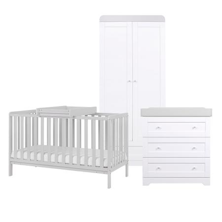 Tutti Bambini Dove Grey Malmo Cot Bed with Rio Furniture 3 piece Set White/Dove Grey
