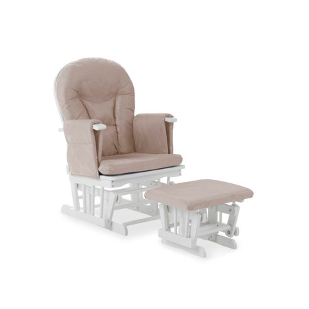 Obaby Reclining Glider Chair and Stool – White with Sand Cushions