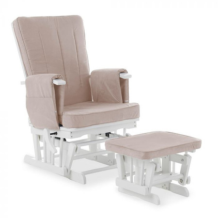 Obaby Deluxe Reclining Glider Chair and Stool – White with Sand Cushions