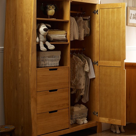 OBaby Stamford Sleigh Double Wardrobe - Country Pine