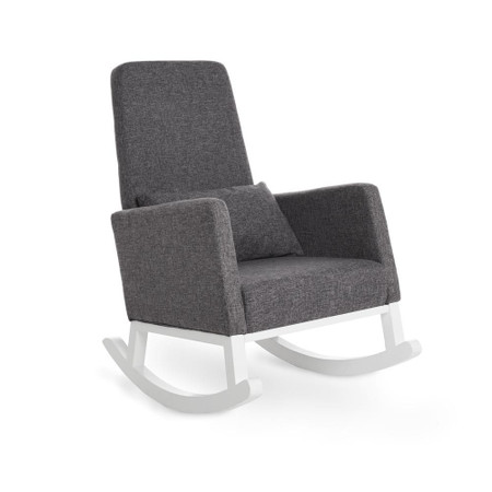 Obaby High Back Rocking Chair - White with Grey Cushion