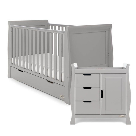 Obaby Stamford Classic Sleigh 2 Piece Room Set - Warm Grey