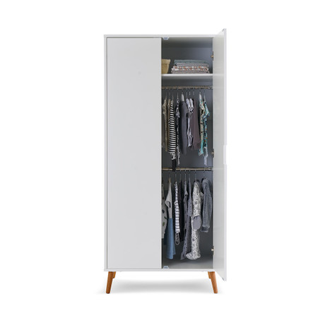 Obaby Maya Double Wardrobe - White with Natural