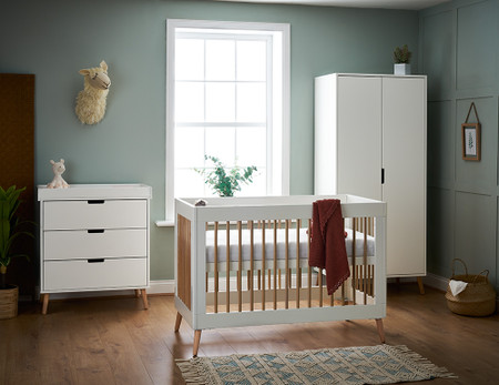 Obaby Maya Mini 3 Piece Room Set - White with Natural