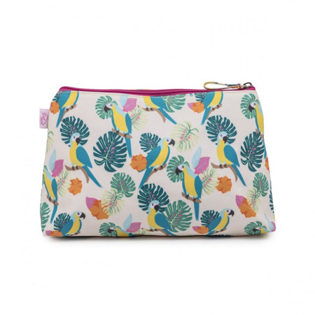 Pink Lining Wash Bag - Parrot Cream