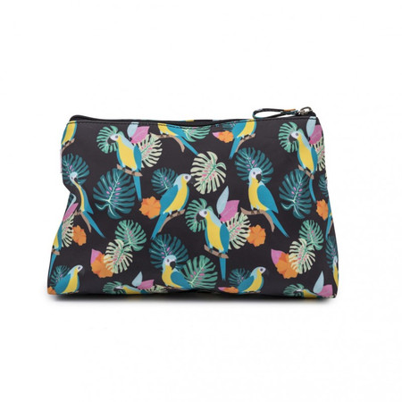 Pink Lining Wash Bag - Parrot Black