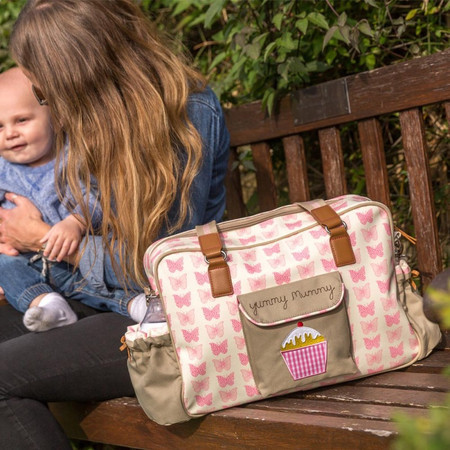Pink Lining Yummy Mummy Changing Bag - Pink Butterflies