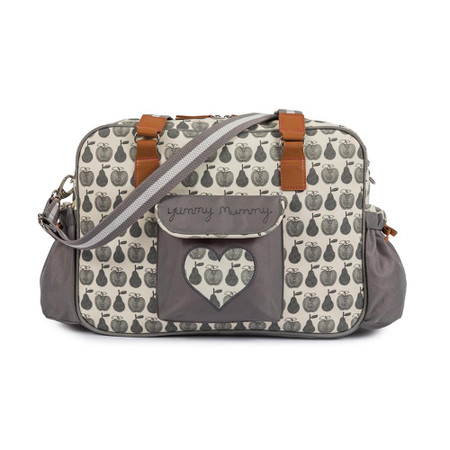 Pink Lining Yummy Mummy Changing Bag - Apples and Pears Grey