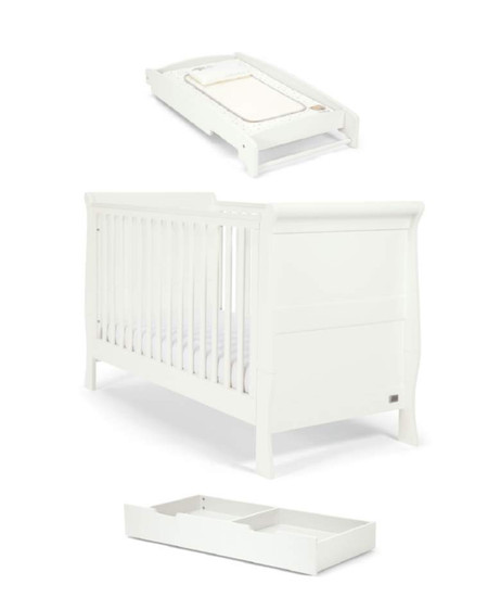 Mamas and Papas Mia Sleigh Cotbed Package - White