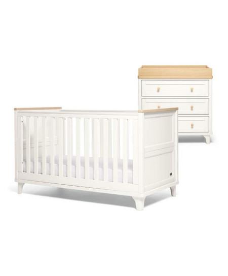 Mamas & Papas Trista 2 Piece Cot bed Set - White/Oak