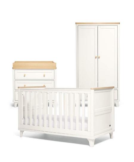 Mamas & Papas Trista 3 Piece Cot bed Range - White/Oak