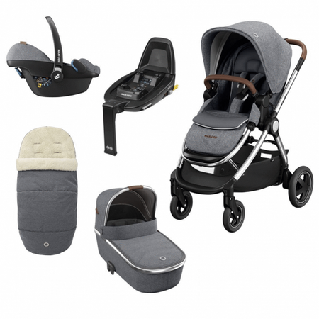 Maxi Cosi Adorra Luxe, Oria Carrycot, Pebble Pro Luxe With Free Familyfix2 - Grey Twillic