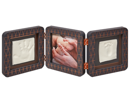 Baby Art My Baby Touch Rounded Double Print Frame  - Copper Edition Dark Grey