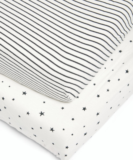 Mamas & Papas 2 Cot/Bed Fitted Sheets - Starry Skies