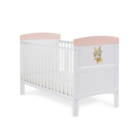 Obaby Grace Inspire Cot Bed - Water Colour Rabbit Pink