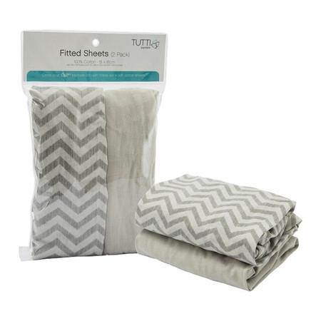 Tutti Bambini CoZee Fitted Sheets (Twin Pack) - Chevron/Grey