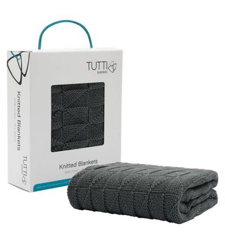 Tutti Bambini CoZee 100% Cotton Woven Blanket - Charcoal