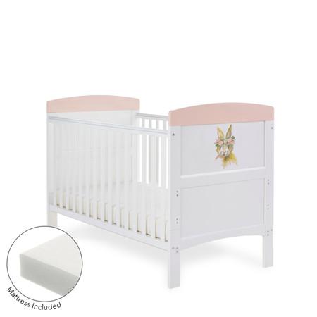 Obaby Grace Inspire Cot Bed & Fibre Mattress - Water Colour Rabbit Pink