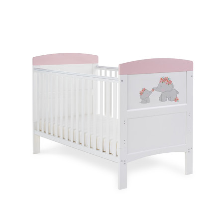 Obaby Grace Inspire Cot Bed & Fibre Mattress - Me & Mini Me Elephants Pink