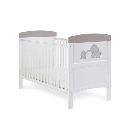 Obaby Grace Inspire Cot Bed & Fibre Mattress - Me & Mini Me Elephants Grey