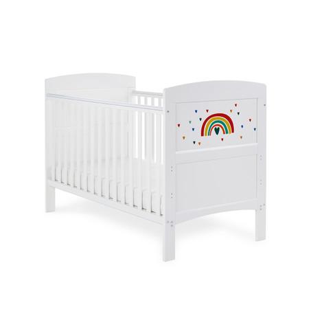Obaby Grace Inspire Cot Bed & Fibre Mattress - Rainbow Multicolour