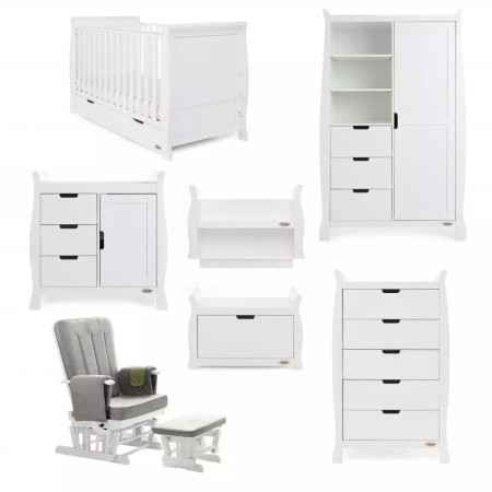 Obaby Stamford Classic Sleigh 7 Piece Room Set – White