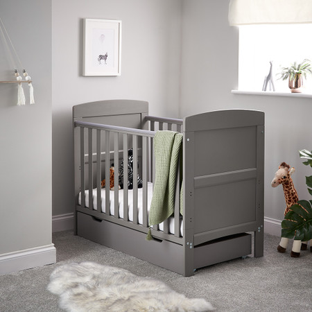 Obaby Grace Mini Cot Bed & Under Drawer - Taupe Grey