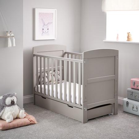 Obaby Grace Mini Cot Bed & Under Drawer - Warm Grey