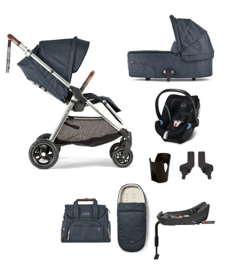 Mamas & Papas Flip Xt3 Navy Flannel Complete (Inc Pushchair, Carrycot, Adaptors, Cupholder, Bag, Footmuff, Navy Parasol, Aton 5 - Black & Isofix Base)