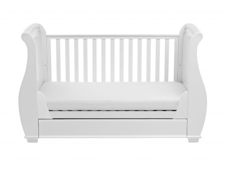 Babymore Bel Sleigh Cot Bed Dropside with Drawer - White