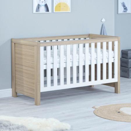 Babymore Luno Cot Bed - White Oak
