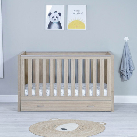 Babymore Luno Cot Bed With Drawer - Oak