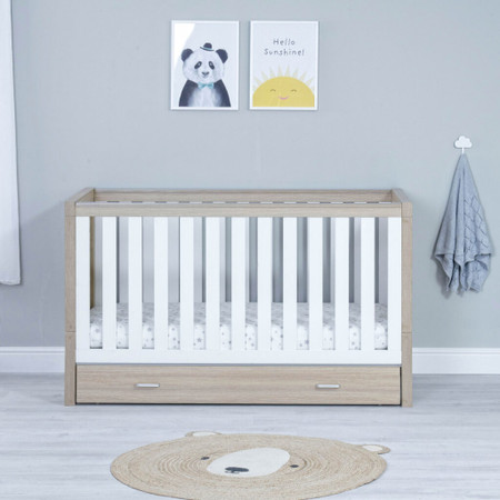 Babymore Luno Cot Bed With Drawer - White Oak