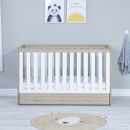 Babymore Veni Cot Bed With Drawer - White Oak