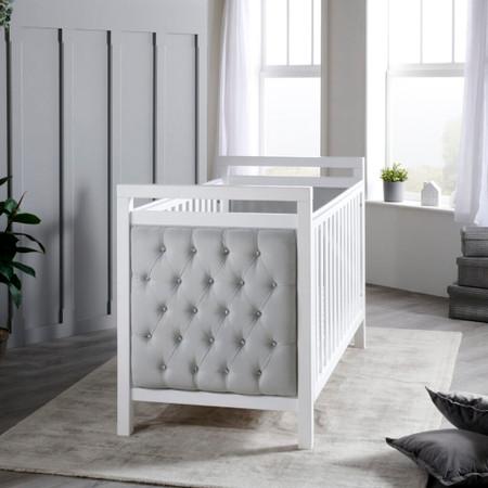 Babymore Velvet Deluxe Cot Bed - White with Grey Velvet