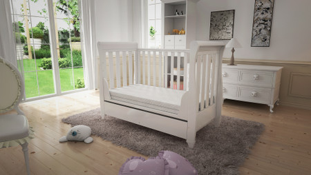 Babymore Eva Sleigh Cot Bed Dropside with Drawer - White