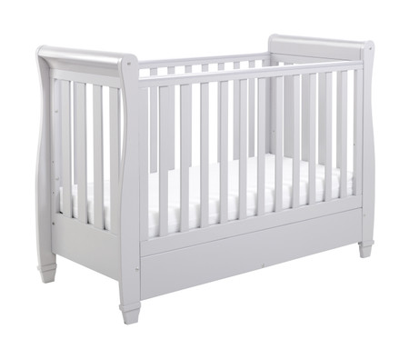 Babymore Eva Sleigh Cot Bed Dropside with Drawer - Grey