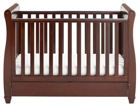 Babymore Eva Sleigh Cot Bed Dropside with Drawer - Brown