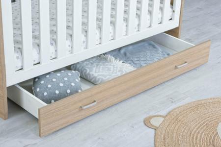 Babymore Drawer - Luno Veni Cot Bed - Oak