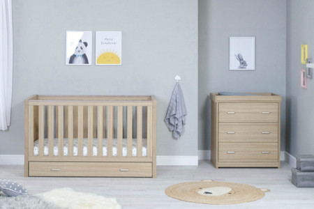 Babymore Luno Room Set 2 Piece With Drawer- Oak
